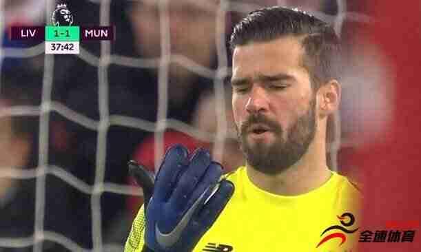 半场-马内林加德分别破门阿利森送礼 利物浦暂1-1曼联