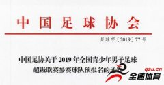 <b>2019青超联赛预报名开启,分U19-U13五个组别</b>
