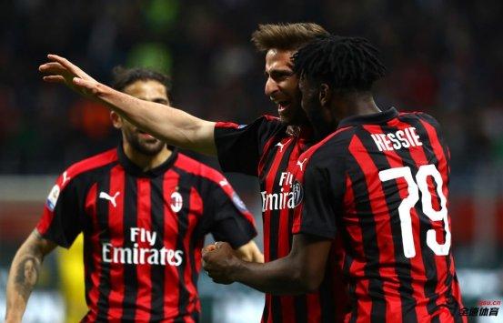 意甲联赛第35轮,AC米兰坐镇主场2:1险胜博洛尼亚