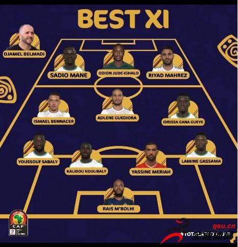 非洲杯最佳阵容:马赫雷斯&马内领衔,伊哈洛入选