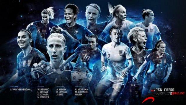 FIFA女足最佳阵容美国5人入选