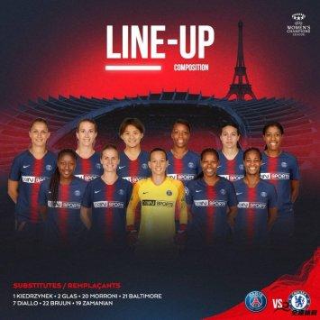 巴黎女足主场对阵切尔西女足,官方公布了本场比赛的首发名单