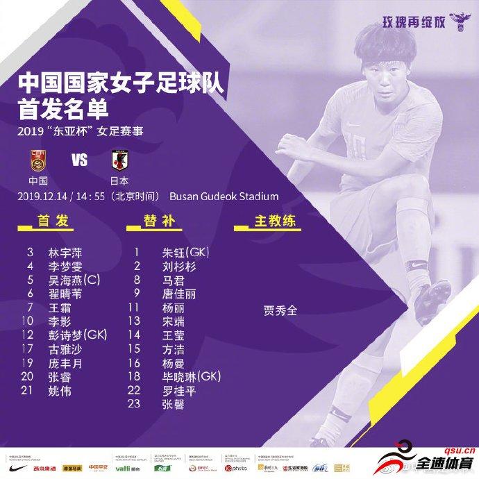 中国女足vs日本女足首发:王霜、古雅沙出战,吴海燕在列