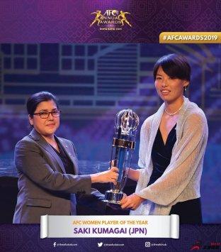日本女足球员熊谷纱希获得2019年亚洲足球小姐