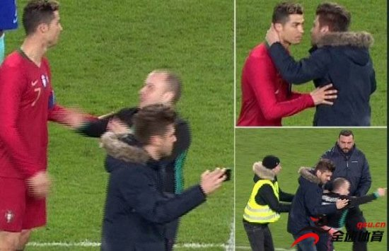C罗球迷比赛中入场拥抱偶像