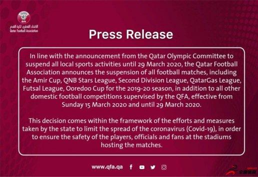 卡塔尔足协:将暂停国内所有足球赛事,为期