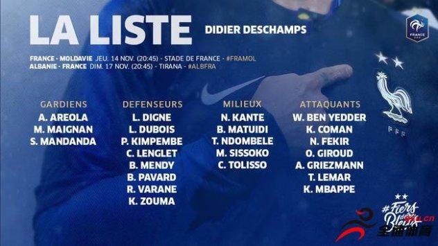 法国国家队的新一期大名单公布