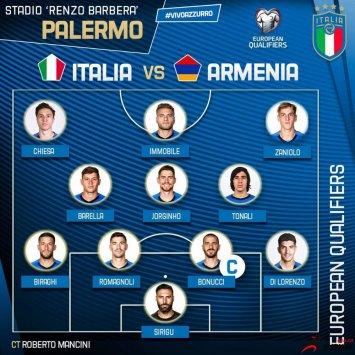 意大利vs亚美尼亚双方公布了本场比赛的首发名单
