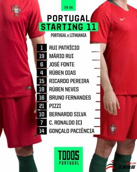 葡萄牙首发阵容已经公布