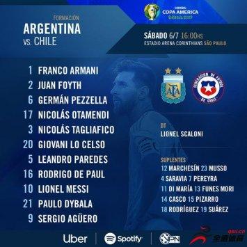 阿根廷vs智利首发:迪巴拉和洛塞尔索轮换进
