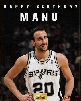 马刺队前NBA球员马努-吉诺比利的照片