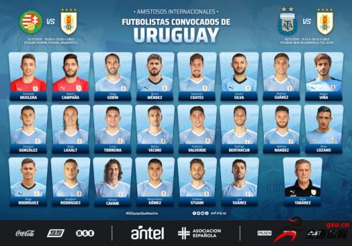 乌拉圭国家队公布了新一期的征召名单,苏牙、卡瓦尼领衔