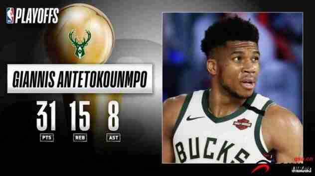 NBA官方评选今日最佳数据:字母哥以31分15篮