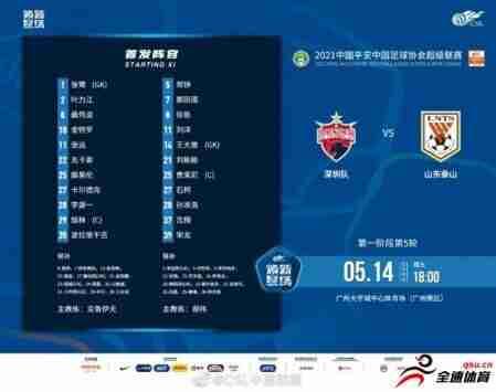 深圳vs山东泰山:金特罗、郜林先发,王大雷