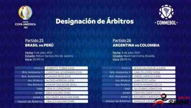 美洲杯半决赛裁判安排:智利名哨托巴尔执法