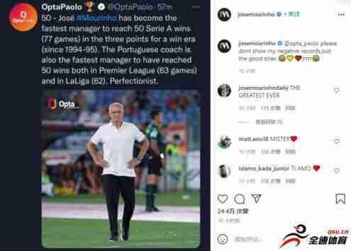 穆里尼奥今天在Instagram上发文调侃了OPTA数据