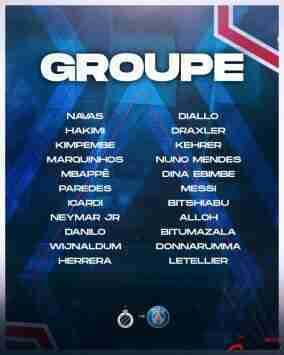巴黎欧冠大名单:NMM组合领衔!拉莫斯、维拉蒂缺席